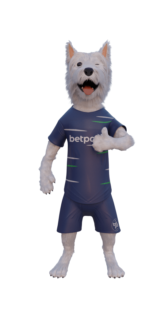 betpal sports dog mascot with thumbs up