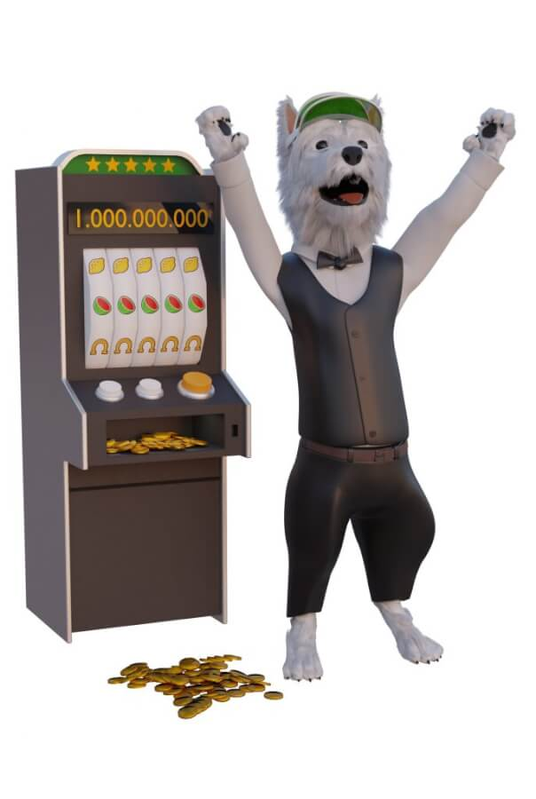 betpal dog mascot playing slot game