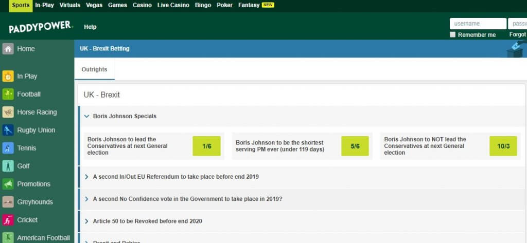 brexit betting paddy power