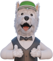 betpal dog mascot with thumbs up