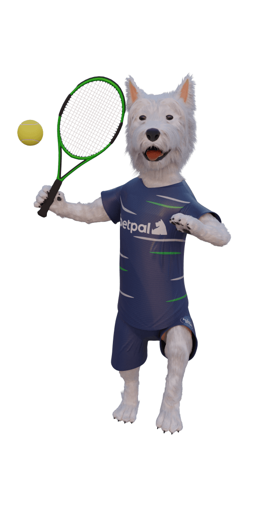 betpal dog mascot playing tennis