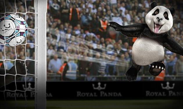 royal panda mascot playing football