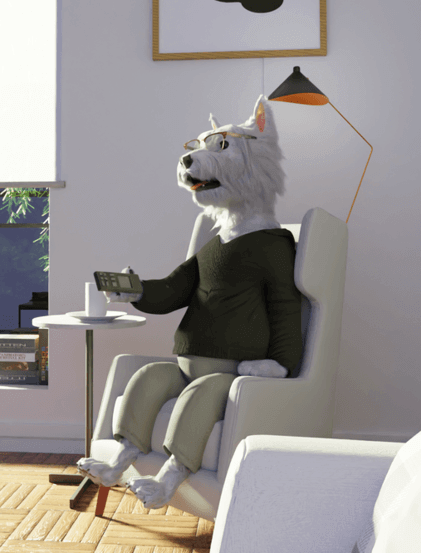 betpal dog mascot sitting in a chair