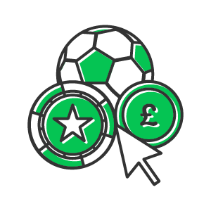 football, casino chip and mouse coursor icon