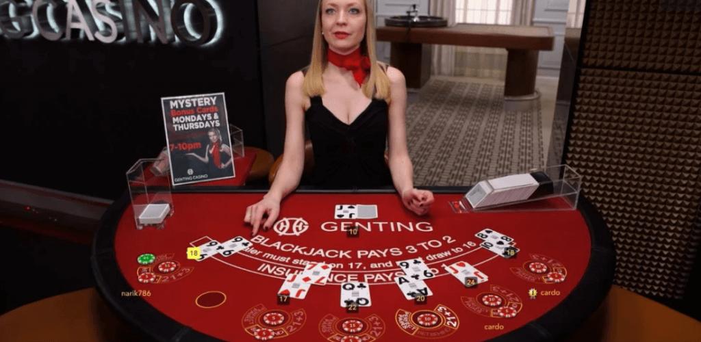 Blackjack live dealer table at Genting Casino