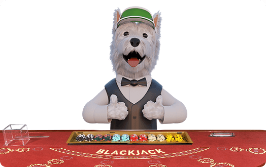 betpal dog mascot playing blackjack