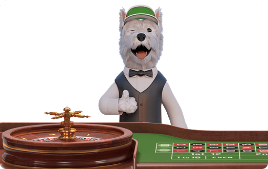 betpal dog mascot playing roulette