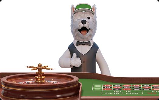 betpal dog mascot playing roulette