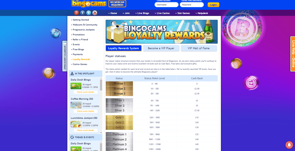 Bingocams Player Status Cash Back
