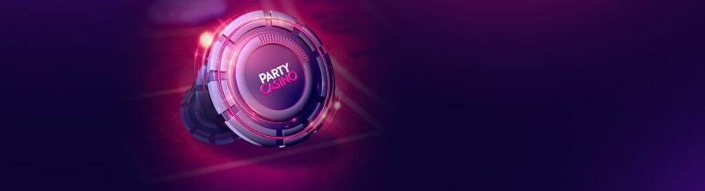 partycasino purple banner with casino chip