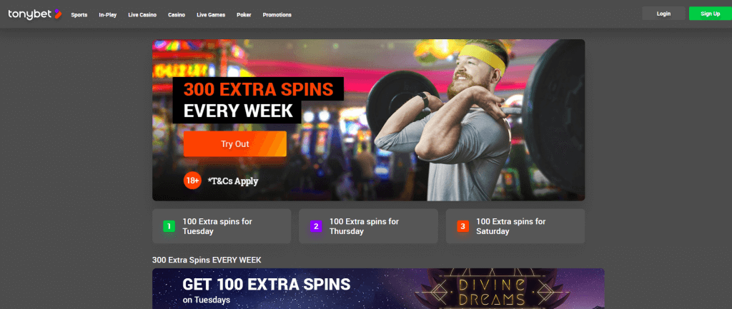 300 extra spins every week at tonybet