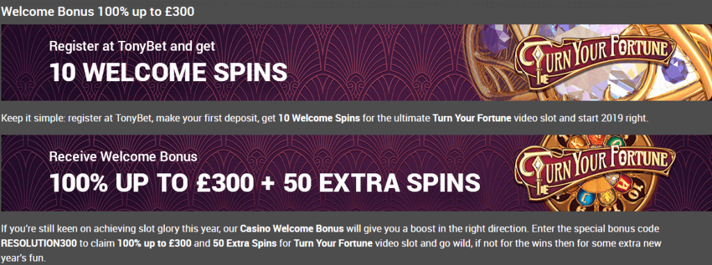 tonybet casino welcome offer