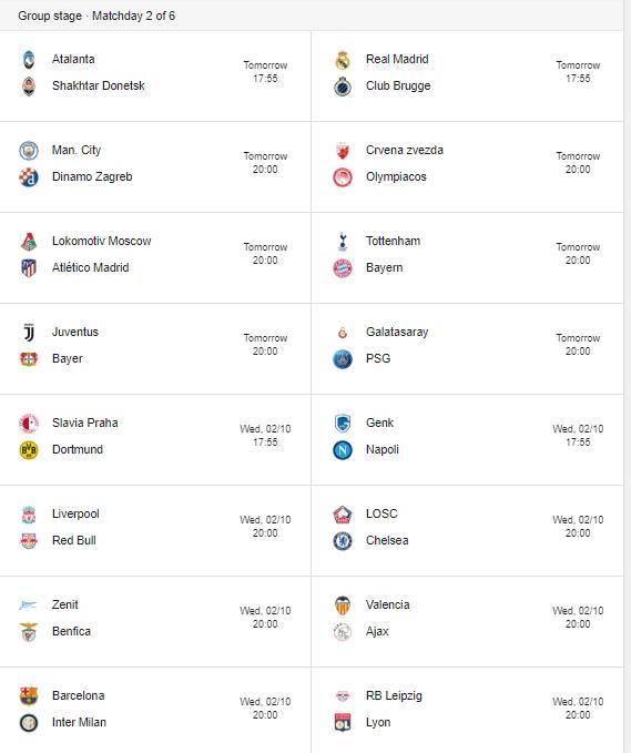 champions league week 2 fixtures
