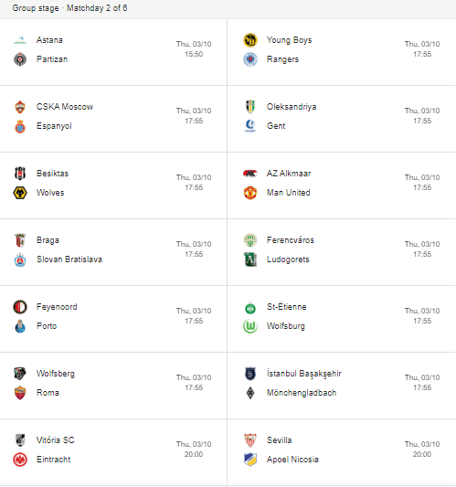 europa league week 2 fixtures part 1