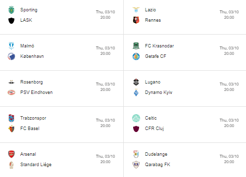 europa league week 2 fixtures part 2