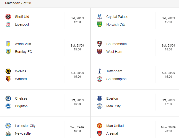 premier league week 7 out 38 matches schedule
