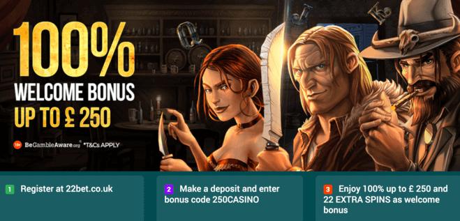 22bet casino welcome bonus