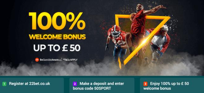 22bet sportsbook welcome bonus