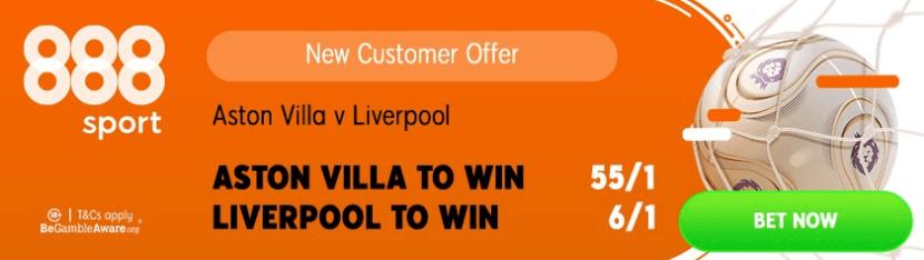 aston villa v liverpool 888 bonus