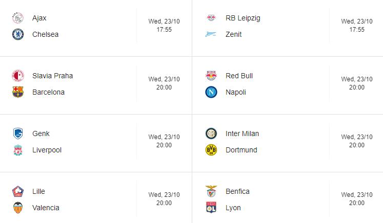 champions league week 3 Fixtures 23-10