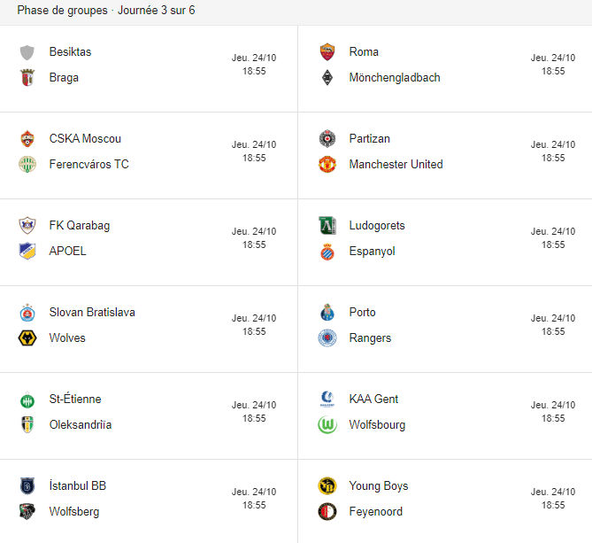 europa league fixtures wee3
