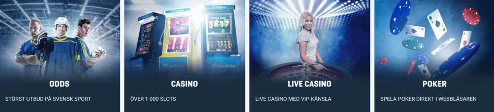 nordicbet spelutbuded: odds, casino, live casino, poker