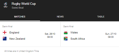 rugby world cup semi finals fixtures 2019