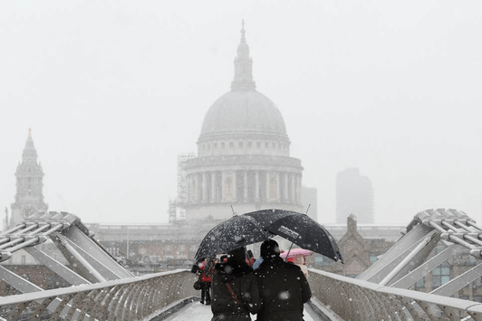 st pauls cathedral in snow london