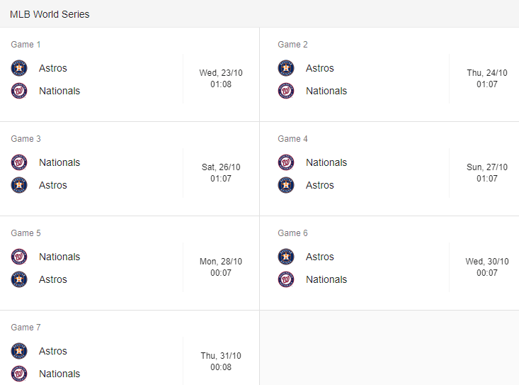 world series of baseball fixtures