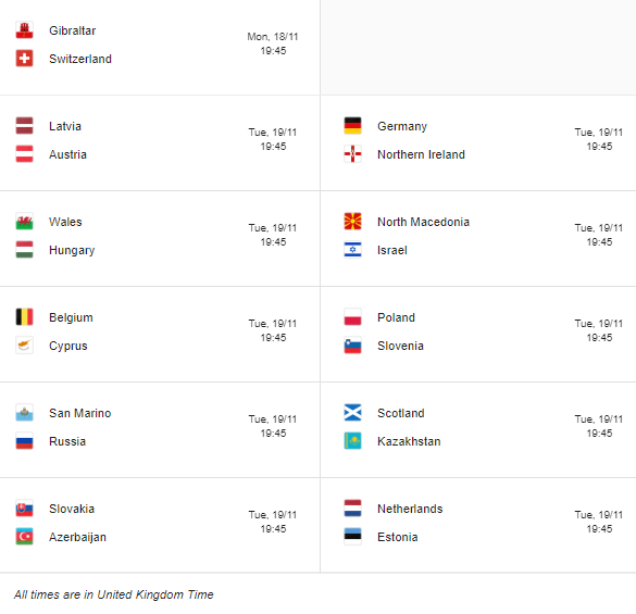 2020 euroqualifiers matchday 10 fixtures 2