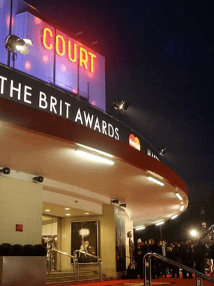 The entrance to Earls Court in London on the evening of the 2008 Brit Awards ceremony