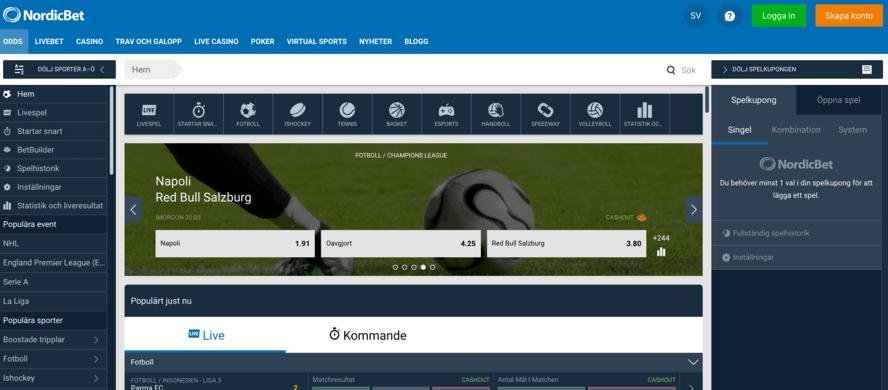 Nordicbet Odds - hemsida