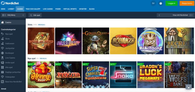Nordicbet Casino - hemsida