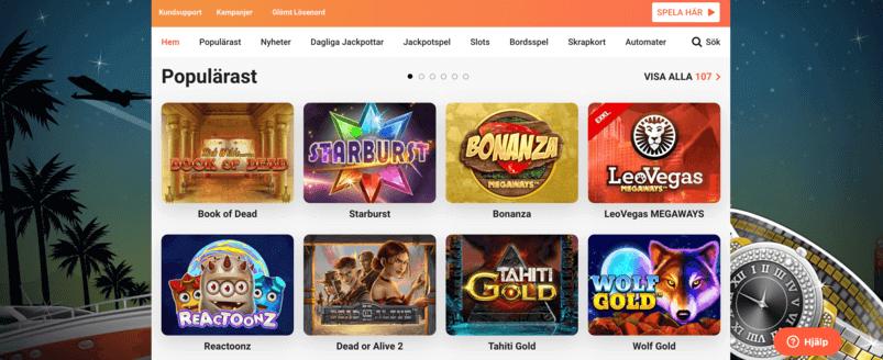 LeoVegas Casino - hemsida