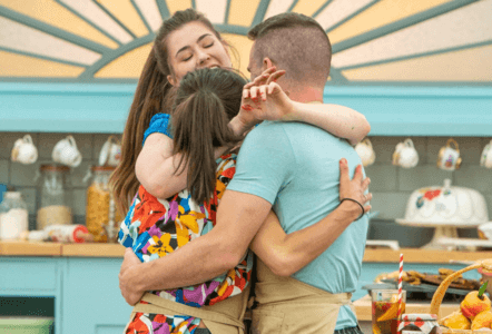 great british bake off the top 3 contestants hugging