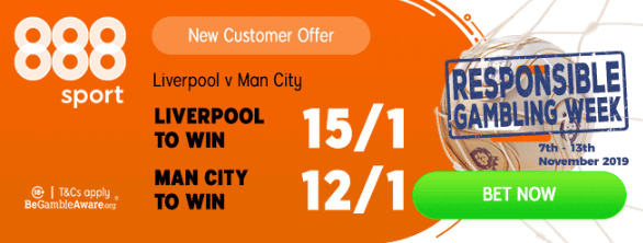 liverpool v manchester city enhanced odds 10 november 2019 888 Sport banner
