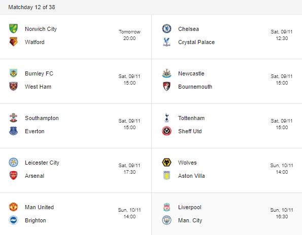 premier league 2019 matchday 12 fixtures