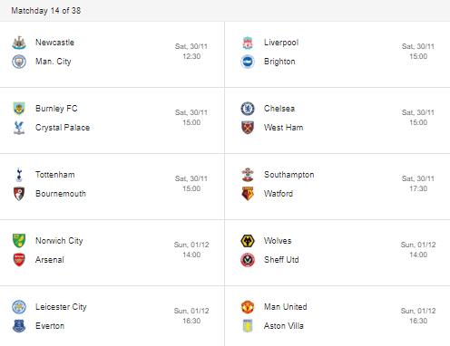 fixtures premier league 2019 matchday 14
