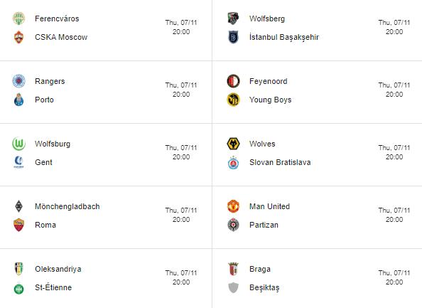 europa league fixtures matchday 4 - 2019