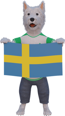 betpal dog mascot with swedish flag
