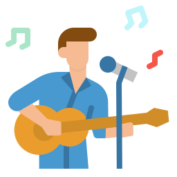 person singing and playing guitar icon