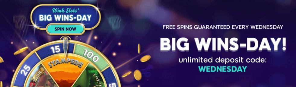 wink slots big wins day banner