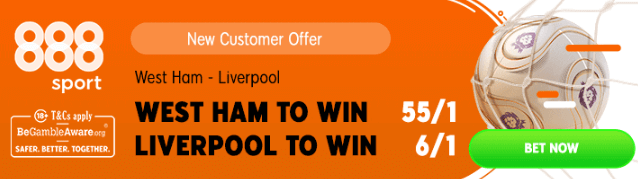west ham v liverpool boosted odds promo 888
