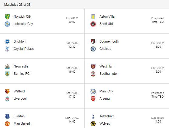 2020 premier league matchday 28 fixtures