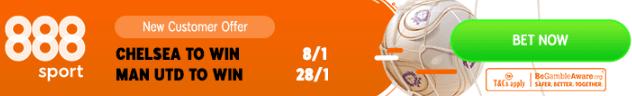 chelsea v man utd boosted odds 888 sport banner