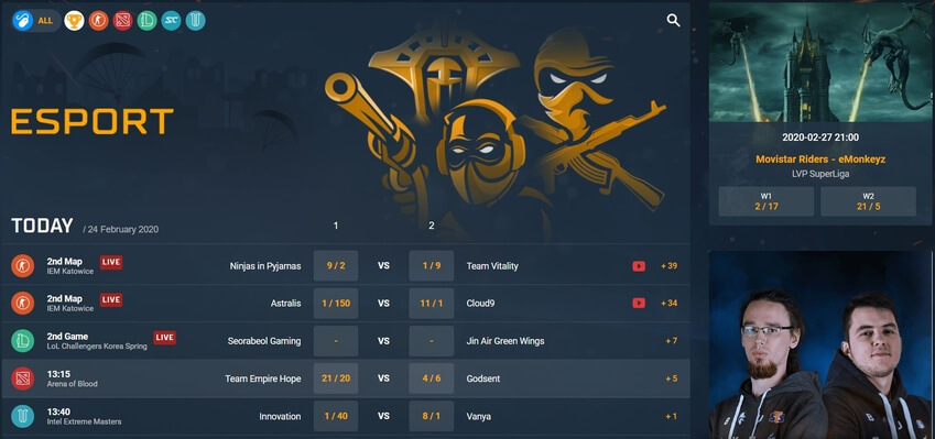 sts sportsbook betting on esports screenshot