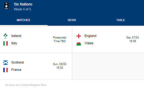 2020 six nations week 4 of 5 fixtures
