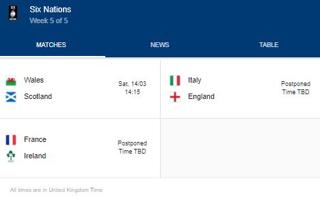 2020 six nations week 5 of 5 fixtues