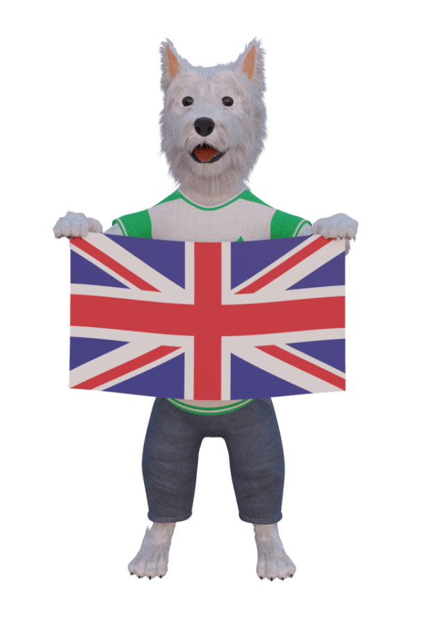 betpal dog mascot with a flag