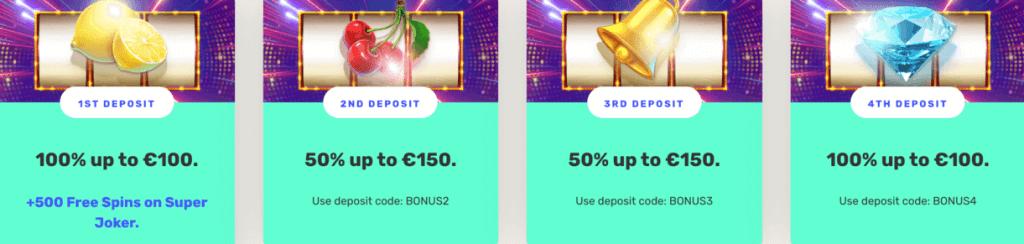 justspin welcome bonus banner